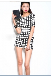 Korean Checker One Piece Tops+Pants