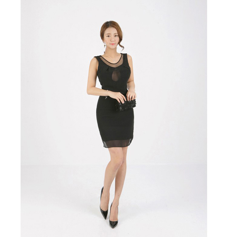 Sexy Translucent Open Chest Slim Dress  Online Dress Shopping  Ezytred Malaysia-5293