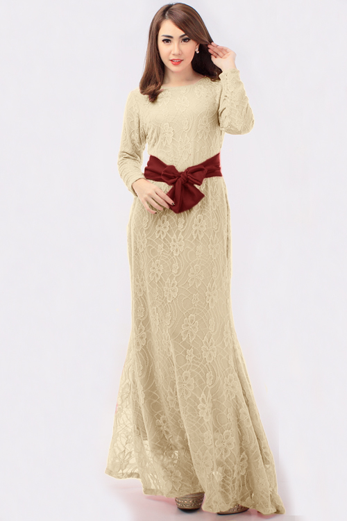 Lace Design Jubah Dress with Ribbon | Online Dress Shopping ...