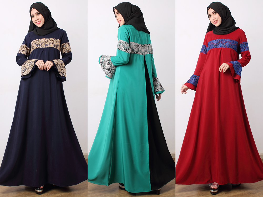 86572b93fb ... Neyla - Lace Details with Godet Back Jubah Dress ...