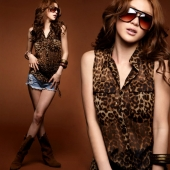 Sleeveless Chiffon Leopard Top