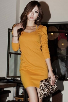 Bare Back Puff Sleeve Slim Dress