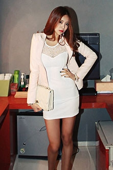 Sleeveless Slim Dress with Lace