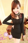 Turtle Neck Open Chest Slim Dress with Lace