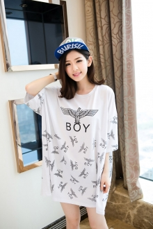 Wording Logo Printed Casual Tunic Dress