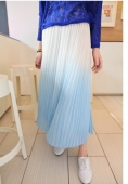 Gradient Color Pleated Chiffon Skirt
