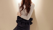 Jeans Ruffle Pencil Skirt