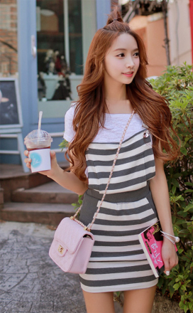 Stripes Design Long Strap Dress