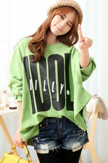 Slogan Print Loose Long Sleeves Top