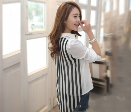 Stripes Design Back Asymmetric Top