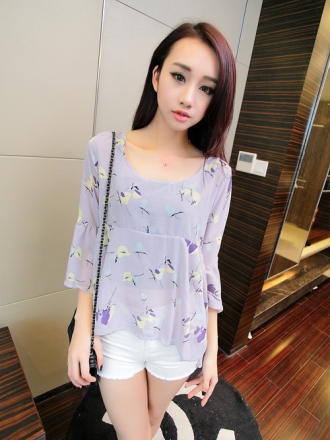 Butterfly Printed Ruffles Puff Sleeve Bare Back Top