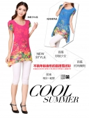 Asymmetric Floral Design Chiffon Top