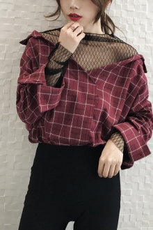 Drop Shoulder Collared Shirt with Mesh Inner Attach