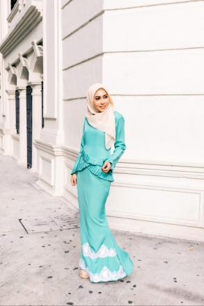 Aqilaa Layered Pleated Kurung Set