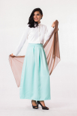 3 Pieces Collared Women Top with Pleated Skirt (Including Shawl)