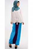 2 Pieces Joint Ribbon Design Women Blouse with Mix Color Skirt (Including Shawl)