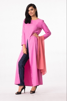 2 Pieces Slit Design Long Top with Long Pants (Including Shawl)