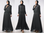 2 Pieces Double Layer Top With Long Inner Dress (Including Shawl)