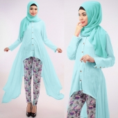 2 Pieces Asymmetric Basic Button Top with Floral Pants (Including Shawl)
