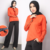 2 Pieces Zipper Sleeve Simple Top With Straight Cut Palazzo (Including Shawl)