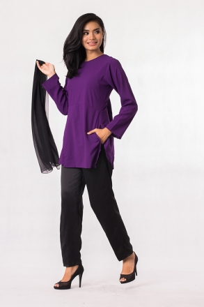 2 Pieces Layered Top With Long Pants (Including Shawl)