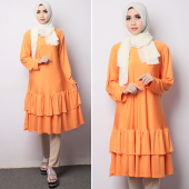 2 Pieces Ruffles Design Women Long Top with Pants (Including Shawl)