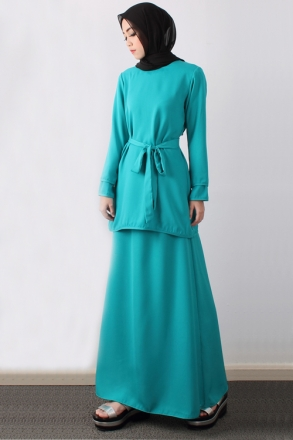 2 Pieces Double Layer Sleeve Design Modern Kurung (Include Ribbon)