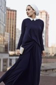 2 Pieces Collar Long Sleeve And Extended Back Top With Stretchable Skirt