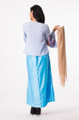 3 Pieces Loose Pendant Blouse With Lace Sleeve + Inner Stretchable Bodice + Long Skirt (Including Shawl)