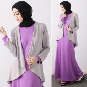 2 Pieces Flared Long Sleeve Cardigan With Long Dress (Including Shawl)