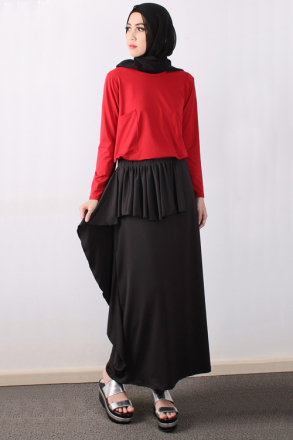 2 Pieces Rania Pocket Top With Ruffle Skirt (Including Shawl)