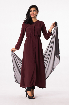 2 Pieces Long Sleeve Quarter Button Sheer Top With Stretchable Pants (Including Shawl)