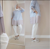 2 Pieces Dual Stripes Shirt With Plain Long Pants (Including Shawl)