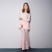 2 Pieces Peplum Top With Songket Printed Long Skirt