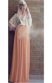2 Pieces Round Neck Batwing Top with Long Skirt (Including Shawl)