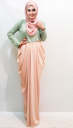 2 Pieces Round Neck Basic Top with Harem Long Skirt (Including Shawl)