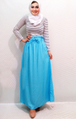 2 Pieces Stripe Top with Plain Skirt (Including Shawl)