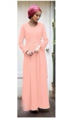 Basic Pleated Design Waist String Jubah Dress with Ribbon