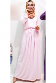 Round Neck Basic Waist String Jubah Dress (Including Shawl)