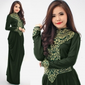 Jesicca Turtle Neck Lace Design Drape Jubah Dress