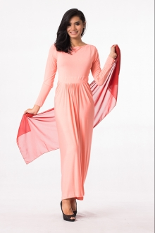 Pleated Design One Piece Jubah Dress (Including Shawl)