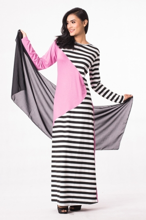 2 Tones Stripes Design Modern Jubah Dress (Include Shawl)