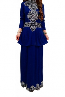 Elfileya Peplum Dress with Embroidery Details